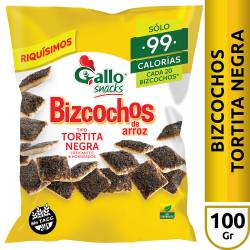 Bizcochos de Arroz Gallo Snacks Tortitas Negras x 100 g.