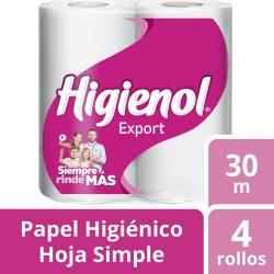 Papel Higiénico Hoja Simple Higienol Export 30 m x 4 un.