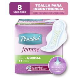 Toalla para Incontinencia Plenitud Femme Normal con Alas x 8 un.