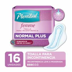 Toalla para Incontinencia Plenitud Femme Normal Plus x 16 un.