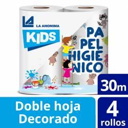 Papel Higiénico Doble Hoja La Anónima Decorado Kids 30 m x 4 un.