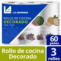 Rollo Cocina La Anónima Decorado 60 paños x 3 un.