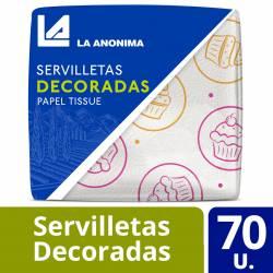Servilletas Papel Tissue La Anónima Decoradas 32cmx30cm x 70 un.