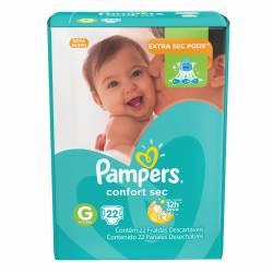 Pañal Pampers Confort Sec Mega Pack G x 22 un.