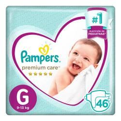 Pañal Premium Care Hiper Pampers G x 46 un.