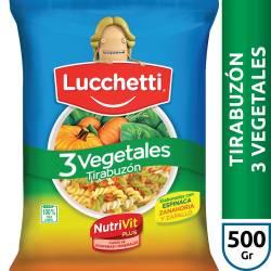 Fideos Lucchetti Tirabuzón 3 Vegetales x 500 g.