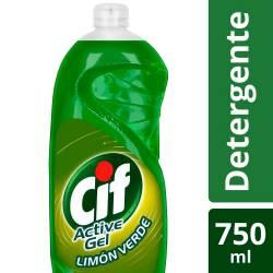 Detergente Líquido Active Gel Cif Limón Verde x 750 cc.