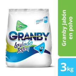 Jabón Polvo Baja Espuma Granby Lavado Total x 3 kg.