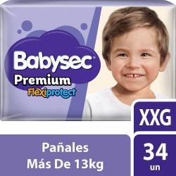 Pañal Babysec Premium Flex Protect Híper Pack XXG x 34 un.