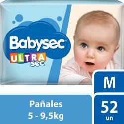 Pañal Babysec Ultra Sec Híper Pack M x 52 un.