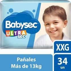 Pañal Babysec Ultra Sec Híper Pack XXG x 34 un.