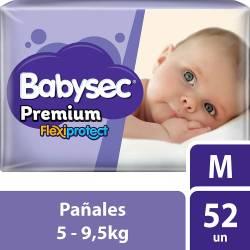 Pañal Babysec Premium Flex Protect Híper Pack M x 52 un.