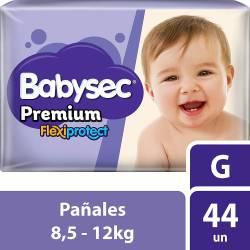 Pañal Babysec Premium Flex Protect Híper Pack G x 44 un.