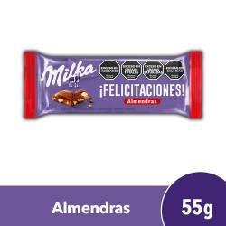 Chocolate con Leche y Almendras Milka x 55 g.