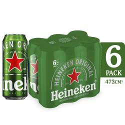Cerveza Heineken Pack x 6 Latas de 473 cc.