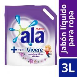 Jabón Líquido para Ropa Ala Matic - Violetas y Flores Blancas Doy Pack x 3 Lt.