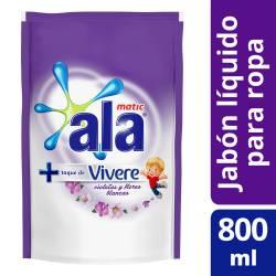 Jabón Líquido para Ropa Ala Matic - Violetas y Flores Blancas Doy Pack x 800 cc.