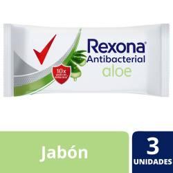 Jabón de Tocador Antibacterial Rexona Aloe x 3 un. 270 g.