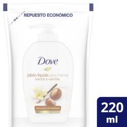 Jabón Líquido para Manos Dove Karité y Vainilla Doy Pack x 220 g.