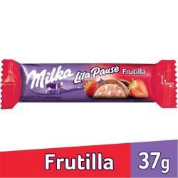 Chocolate Negro Relleno Milka Frutilla Lila Pause x 37 g.