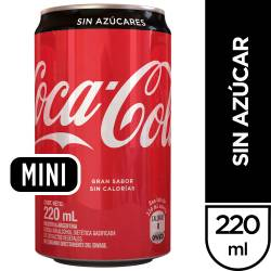 Gaseosa Cola sin Azúcar Coca-Cola Lata x 220 cc.