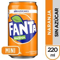 Gaseosa Naranja sin Azúcar Fanta Lata x 220 cc.