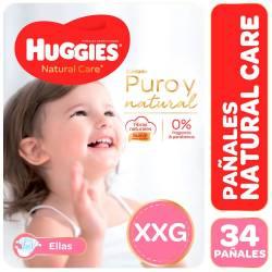Pañal Huggies Natural Care Minnie Híper Pack XXG x 34 un.