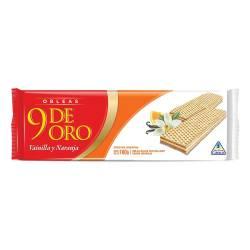 Galletitas Obleas Rellenas 9 de Oro Sabor Naranja x 100 g.