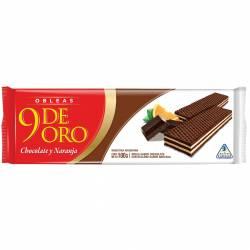 Galletitas Obleas Rellenas 9 de Oro Chocolate y Naranja x 100 g.