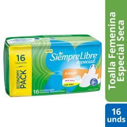 Toalla Higiénica Siempre Libre Adapt Especial Secas Pack x 16 un.