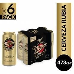 Cerveza Miller Pack x 6 Latas de 473 cc.