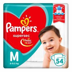 Pañal Super Sec Hiper Pampers M x 54 un.