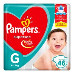 Pañal Super Sec Hiper Pampers G x 46 un.