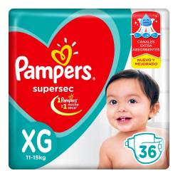 Pañal Super Sec Hiper Pampers XG x 36 un.