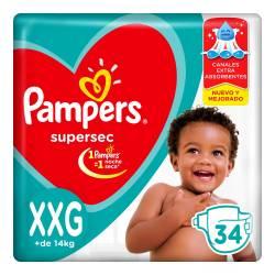 Pañal Super Sec Hiper Pampers XXG x 34 un.