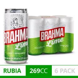 Cerveza Brahma Lime Pack x 6 Latas de 269 cc.