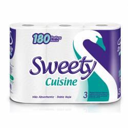 Rollos de Cocina Doble Hoja Sweety 180 Paños x 3 un.