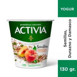 Yogur Parcialmente Descremado Activia Durazno - Damasco con Semillas x 130 g.