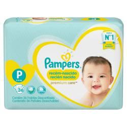 Pañal Premium Care Hiper Pampers P x 36 un.