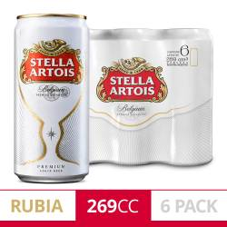 Cerveza Stella Artois Pack x 6 Latas de 269 cc.