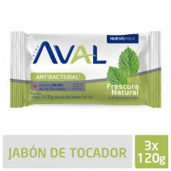 Jabón Tocador Antibacterial Aval Fresh Intensive x 3 un. 360 g.