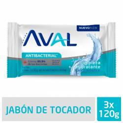 Jabón Tocador Antibacterial Aval Limpieza Hidratante x 3 un. 360 g.