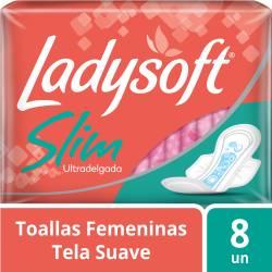 Toalla Higiénica Ultra Delgada con Alas Ladysoft Tela Suave x 8 un.