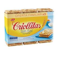 Galletitas s/Sal Criollitas x 3 un.