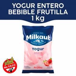 Yogur Entero Bebible Frutilla Sachet Milkaut x 1 Kg.