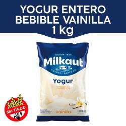 Yogur Entero Bebible Vainilla Sachet Milkaut x 1 Kg.