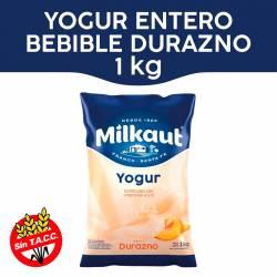 Yogur Entero Bebible Durazno Sachet Milkaut x 1 Kg.