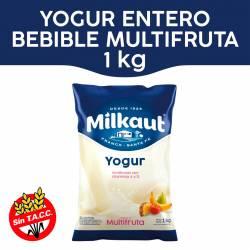 Yogur Entero Bebible Multifruta Sachet Milkaut x 1 Kg.