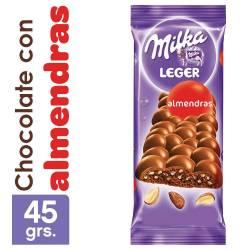 Chocolate c/Leche Aireado y Almendra Milka Leger x 45 g.