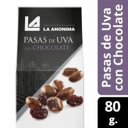 Pasas de Uva c/Chocolate Estuche La Anónima x 80 g.